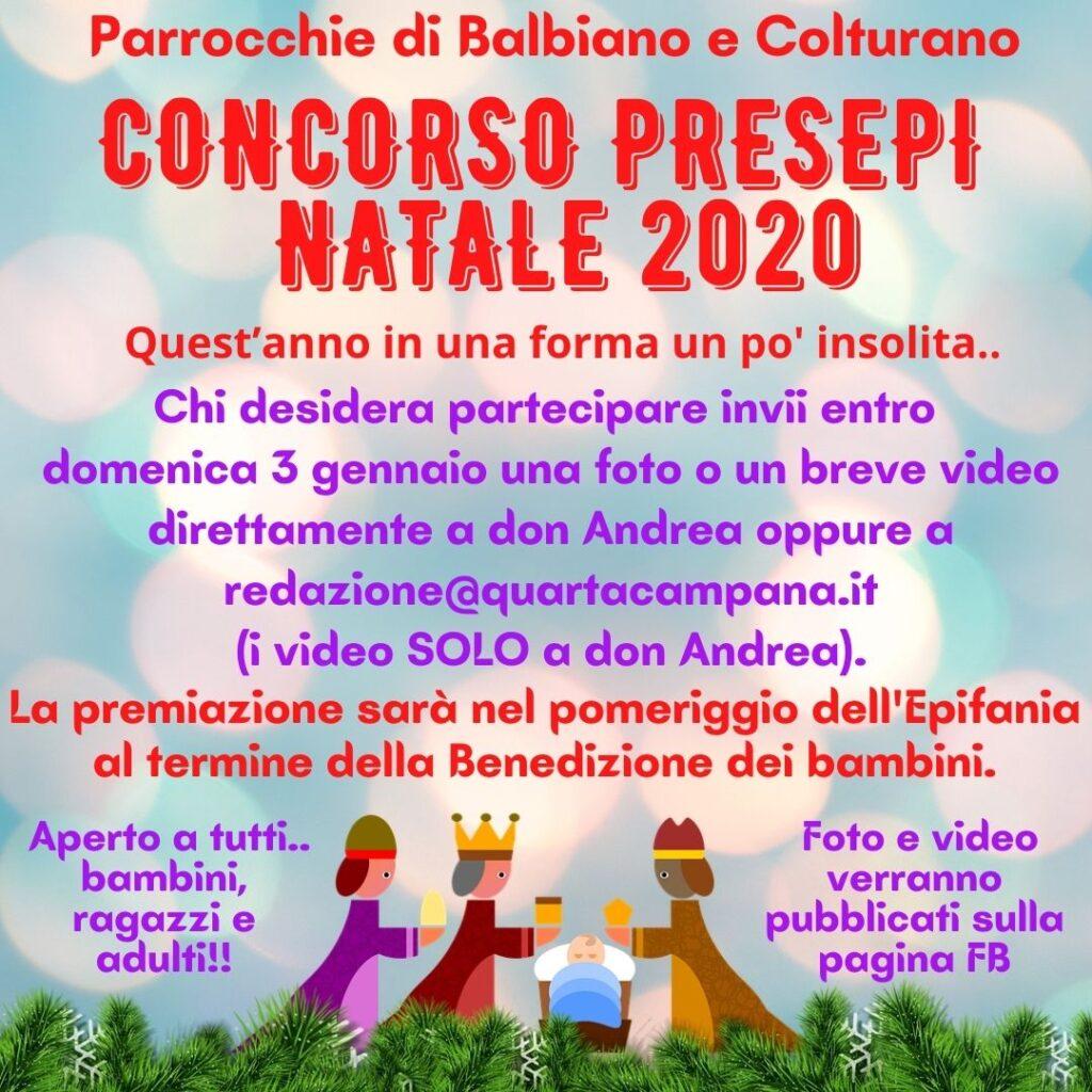 Locandina che descrive le modalità del Concorso Presepi Natale 2020